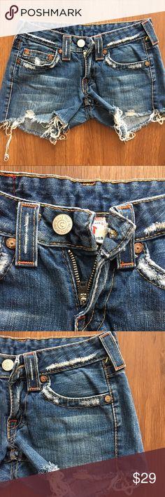 "True Religion Distressed Jeans Short Frayed Bottom True Religion Distressed Jeans Short Frayed Bottom EUC Sz 25 Waist laid flat 13"" Hips approx 17"" Inseam 3""  B-5 True Religion Jeans"