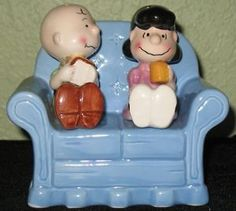 LUCY and Charlie Brown cookie jar | PEANUTS CHARLIE BROWN & LUCY 0N COUCH SALT & PEPPER SHAKERS WILLITTS ...