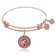 Expandable Bangle in Pink Tone Brass with Aquarius Symbol