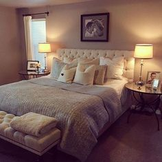 Pottery Barn's Chesterfield Upholstered Bed & Headboard with Raleigh Tufted Bench with Turned Legs. IN LOVE!!!
