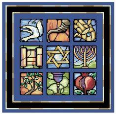 Judaic Stained Glass jewish cross stitch chart Kooler Design Studio