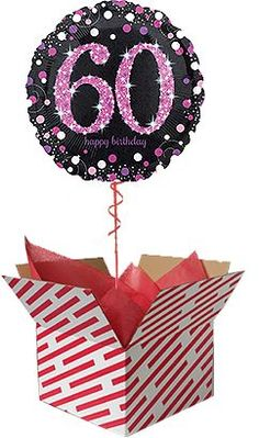 Check out our Pink Celebration Birthday Balloon Gift. Sent already inflated with helium in a large candy stripe box, it's sure to be a big surprise. Order you Birthday Balloon online or by telephone for next day UK delivery. 60th Birthday Balloons, Minnie Mouse 1st Birthday, Wedding Balloons, Gifts For 18th Birthday, 1st Birthday Girls, Happy Birthday, Lego Birthday, Birthday Bash, Get Well Balloons