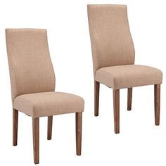 Giantex Set Of 2 Dining Chairs Fabric Upholstered High Back Armless Home Furniture Beige ** You can get additional details at the image link-affiliate link.