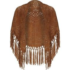 River Island Brown suede laser cut fringed cape