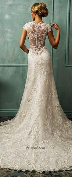 2014 Vintage Wedding Dresses Bit V Neck Short Capped Sleeve Sexy Sheer Back A Line Chapel Train Beaded Lace Bridal Gowns Amelia Sposa Amelia Sposa Wedding Dress, Wedding Dresses 2014, Stunning Wedding Dresses, Beautiful Dresses, Elegant Wedding, Dresses 2016, Party Dresses, Occasion Dresses, Gorgeous Dress