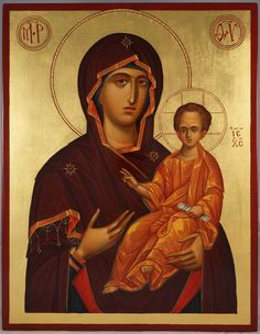 "Mother of God Hodegetria hand-painted icon (Theotokos ""Guide"") - This is a premium quality icon made with pure 23K gold leaf. Painted using traditional technique - egg tempera, lime wood panel with slats on the back, varnish, 23 karat gold leaf. About our icons Blessedmart offers hand-painted religious icons that follow the Russian, Greek, Byzantine and Roman Catholic"