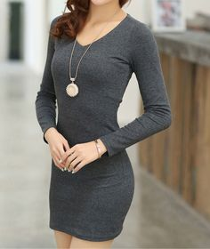 Wholesale Long Sleeves V-Neck Solid Color Beam Waist Packet Buttock Casual Women's Knitting Dress Only $3.69 Drop Shipping   TrendsGal.com