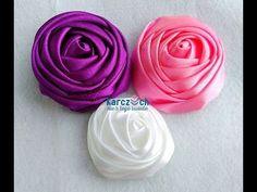 Kanzashi #22 - Ribbon rose no 1 - YouTube