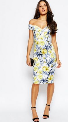 ASOS Bardot Off The Shoulder Hitchcock Midi Pencil Dress In Yellow And Blue Floral €73.24 Find your voucher here: https://www.vouchercloud.com.mt/asos-vouchers/1017467/find-your-wedding-guest-outfit-at-asos-discount-voucher-code