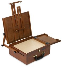 Sienna Plein Air All in One Pochade Box. Features multiple storage compartments, a special wet painting storage section and a lid that turns into an easel.