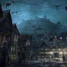 The town of Bree. Concept art for The Lord of The Rings: War In The North for Warner Bros. Featured in ImagineFX. Some 3d assets from the game were used and painted over in this image.  Follow me here: https://www.instagram.com/ilyanazarovartist/