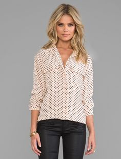 Hearts <3 - Equipment signature angelica hearts blouse in nude paired with Current/Elliott pants