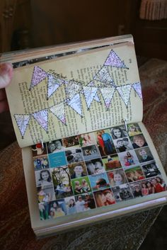 Photo card journal from vintage book