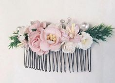 Pink Floral hair comb flower comb Bridal by FloweryTaleThailand