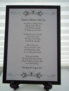 A4 Personalised Wedding Wish Tree Poem