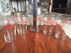 Vintage Coca Cola Glass Pitcher with 4 Coca Cola Glasses Must See | eBay