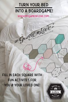 The Game of Love! A fun gift to surprise your man with- customize your own bed sheet board game! Anniversary, Valentine's, or a great wedding present idea!