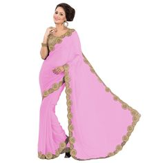 Party Wear Georgette Pink Saree - EBSFS16501