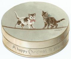 ANTIQUE VICTORIAN BOX SHAPED CHRISTMAS CARD ILLUSTRATED WITH CATS. HELENA MAGUIRE. RAPHAEL TUCK, PUBLISHER.