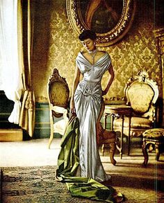Maxime de la Falaise, photo by Cecil Beaton, 1950s vintage fashion style color photo print ad model magazine white evening gown column sheath wiggle draping off shoulder formal dress satin long skirt short sleeves