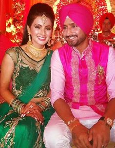 @geeta_basra @harbhajan_singh Wedding Sangeet, end Oct, 2015, Jalandhar, Bridal Ensemble by @archana_kochhar