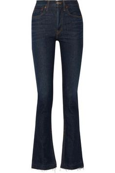 RE/DONE WOMAN THE ELSA HIGH-RISE FLARED JEANS DARK DENIM. #re/done #cloth #