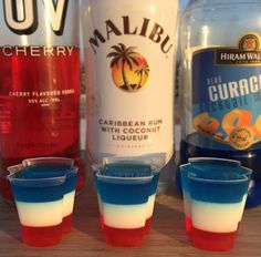 4TH OF JULY ALL AMERICAN JELLO SHOTS  Red Layer:  1 Pack EZ-Jello Strawberry Daiquiri Mix  2 1/2 cups (590 ml) Hot Water  1 1/2 cups (350 ml) UV Cherry Vodka   White Layer:  1 Pack EZ-Jello Pina Colada Mix  2 1/2 cups (590 ml) Hot Water  1 1/2 cups (350 ml) Coconut Rum  Blue Layer:  1 Pack EZ-Jello Blue Mai Tai  2 1/2 cups (590 ml) Hot Water  1 1/2 cups (350 ml) Blue Curacao  Refrigerate each layer before adding the next layer!