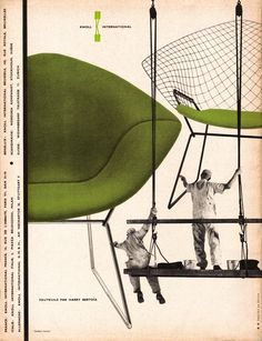 U Harry Bertoia Diamond Chair. Knoll Ad 1957 by Herbert Matter, from L'Œil Magazine, March Harry Bertoia, Retro Vintage, Vintage Design, Retro Design, 1950s Design, Retro Ads, Poster Vintage, Modern Design, Herbert Matter