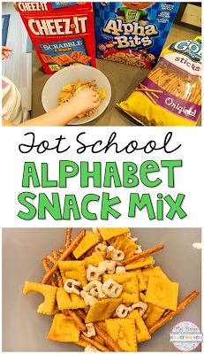 This alphabet snack mix inspired by Chicka Chicka Boom Boom are the perfect snack for Tot School, Preschool or Kindergarten kids!