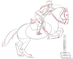 How to draw a jumping horse | Step by step Drawing tutorials