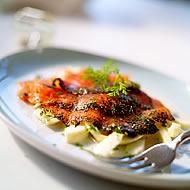 Marinated salmon with fennel and dill salad