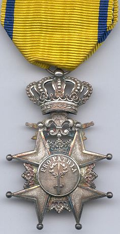 Badge of the Order of the Sword. A chivalry order in Sweden, given for those in the service as an award for bravery or for long and useful service to the country.