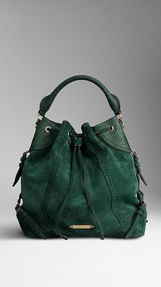 Large Suede and Python Bag | Burberry