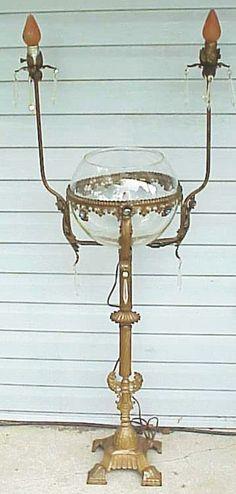 Wonderful Antique Fish Bowl Stand w Lights Jewels Crystals | eBay