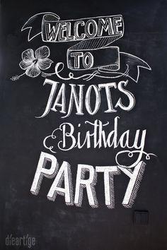 dieartigeBLOG - chalkboard, chalk lettering, Tafel-Schrift, birthday party decoration