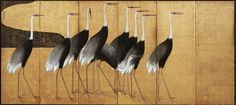 Cranes. Ogata Korin. Left of Japanese folding screen pair. late 17th-early 18th century. Freer and Sackler Galleries. Rimpa School classic.