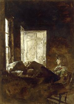 Anna Christina Study, watercolor by Andrew Wyeth