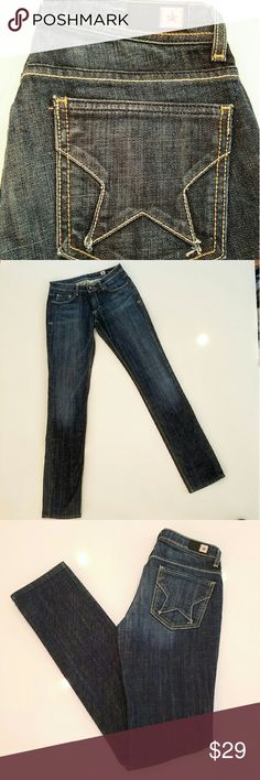 """People's Liberation Irene Skinny Jeans! LIKE NEW! GREAT DEAL on designer denim!! People's Liberation Irene style in dark wash. Cute signature star on back pockets. Some stretch. Tall / long --> 36"""" inseam! 14.5"""" across waist when laid flat; 8"""" rise. People's Liberation Jeans"""