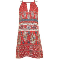 Paisley Print Dress by Band of Gypsies (67 CAD) ❤ liked on Polyvore featuring dresses, red, red dress, paisley print dress, viscose dress, red paisley dress and paisley day dress