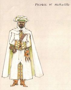 The Merchant of Venice (Prince of Morocco). Shakespeare in the Park and Broadway. Costume design by Jess Goldstein.