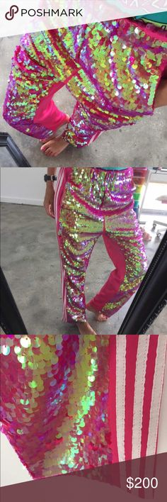 PINK SEQUINED PANTS 💖 Size small can fit a extra small. Worn once for a photo shoot. 💖💖 one of a kind. DOLLS KILL UNIF SEQUIN UNIF Pants Track Pants & Joggers