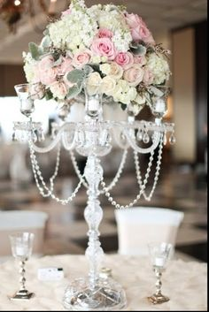 THE ROSE COLORED AISLE: Candelabra Centerpieces