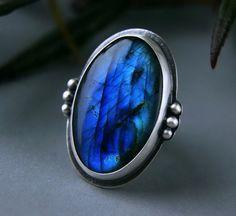 That Old Black Lightning - Labradorite Sterling Silver Ring