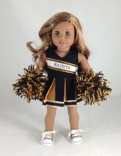 18T Go Team -Saints Cheerleader Dress, Panties, Shoes and Pom-Poms for American Girl Dolls like Lea, Grace, Isabelle, McKenna, Saige and Kit