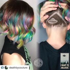 Everything about this hair is out of this world! #nofilterhaircolor #Repost @deathbycouture with @repostapp. ・・・ I Want to Believe My daughter is a huge X-Files fan. She also loves holographic color. In case you couldn't tell. Lightened with Magic Lightener with Olaplex, colored with Arctic Fox. Shine by Amazon Series.#galaxyhair #rainbowhair #undercut #hairdesign #hairart #alternativehair #creative