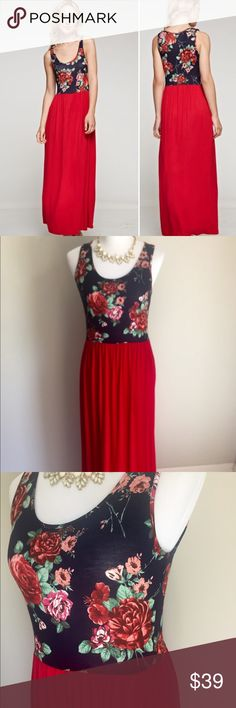 "💥1 LEFT!!! 🚨FINAL PRICE Navy/Red Maxi Dress Super cute top selling maxi dress! Navy colored floral top and skirt is red. Comfortable & flattering fit! Easy to dress up or down. Stretchy fabric 95/5 rayon/spandex. Length is 57"" shoulder to hem. Bust: small 18"" medium 19"" & large 20"" (pit to pit). Has about 2-3 inches of stretch. TTS & okay for a large bust (I tried it on & love it!) ***Price firm. Thanks for shopping my closet 💞 Boutique Dresses Maxi"
