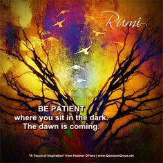 """""""Be patient where you sit in the dark. The dawn is coming."""" —Rumi: www.QuantumGrace.net ..*"""