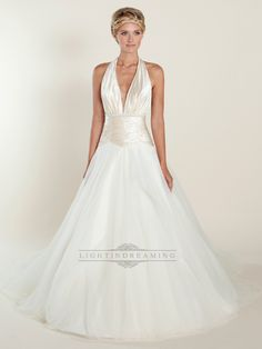 A-line Plunging Halter Ball Gown Wedding Dresses with Ruched Bodice
