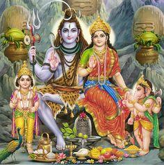 Shiva,Parvati, Kartik and Ganesha (Reprint on Card Paper - Unframed)