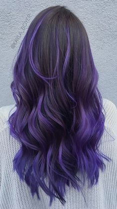 Lavender Tips On Long Hair Purple ombre hair is liter ., Lavender Tips On Long Hair Purple ombre hair is literally everywhere for its endless variety of shades. You can mix it with blue and pink rock lavender balayage and flaunt with anything from. Purple Hair Tips, Deep Purple Hair, Bright Purple Hair, Purple Hair Highlights, Pastel Pink, Pink Hair, Colored Hair Tips, Bright Blonde, Dark Purple